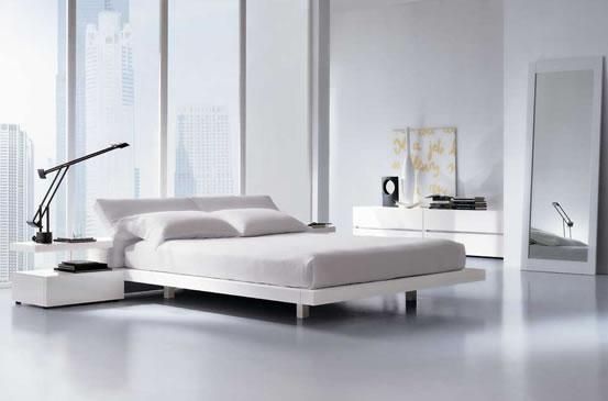 Arredamento zona notte camere da letto mobilform letto alex - Letto pelle bianca ...